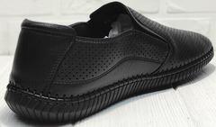 Летние мужские туфли мокасины кожа Ridge Z-291-80 All Black.