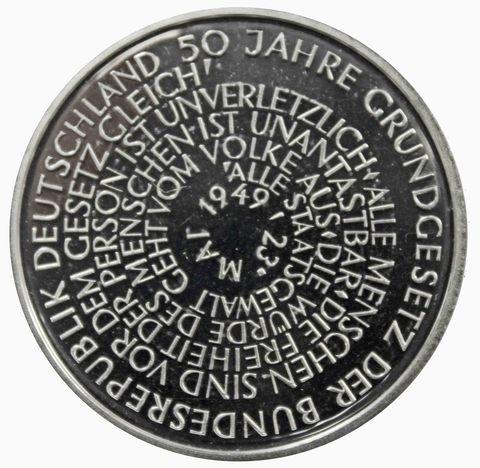 10 марок. 50 лет Конституции ФРГ (J). Серебро. 1999 г. PROOF
