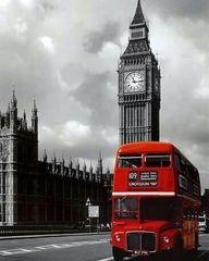 Картина раскраска по номерам 40x50 Красный автобус в сером лондоне (арт.31179)