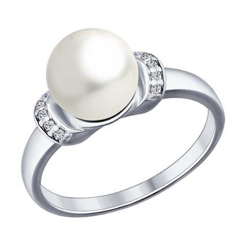94012031 - Кольцо из серебра с жемчугом и фианитами