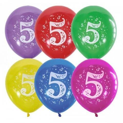 Шары Цифра 5 разноцветные