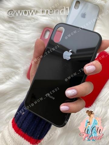 Чехол iPhone XS MAX Glass Pastel color Logo /black/