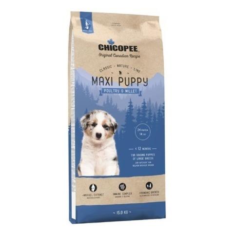 Chicopee CNL Maxi Puppy Poultry & Millet сухой корм для щенков крупных пород с птицей и просом, 15 кг.
