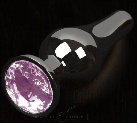 Графитовая удлиненная анальная пробка с розовым кристаллом - 12 см.