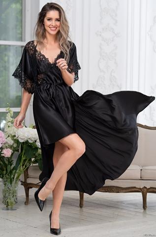 Длинный халат пеньюар MIA-Amore EDITA ЭДИТА 3679 черный