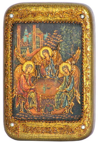 Инкрустированная Икона Троица 15х10см на натуральном дереве, в подарочной коробке
