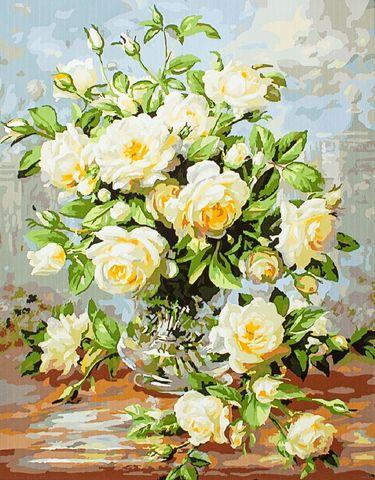 Алмазная Мозаика 20x30 Большой букет белых роз с зеленью