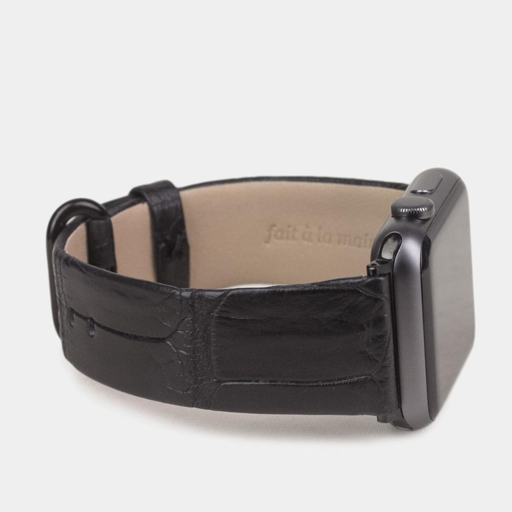 Ремешок для Apple Watch 42/44мм XL Classic из натуральной кожи крокодила, черного цвета