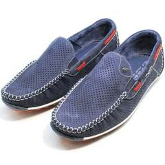 Walking shoe модные мужские туфли мокасины Faber 142213-7 Navy Blue.