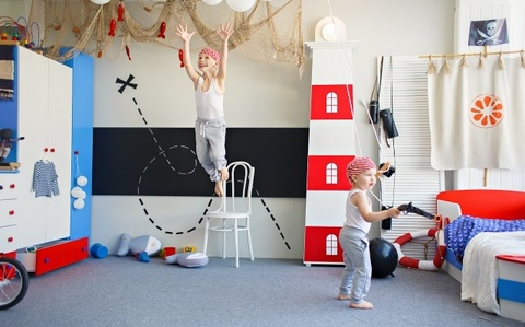 Стеллаж маяк в детскую комнату со светильником, Тортуга