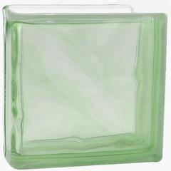 Торцевой стеклоблок зеленый окраска в массе Vitrablok 19x19x8