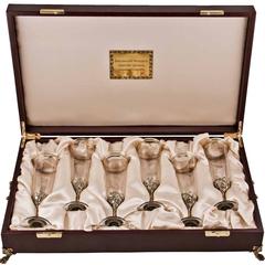 Набор из 6-ти бокалов для шампанского Богемия (в дерев. ларце)