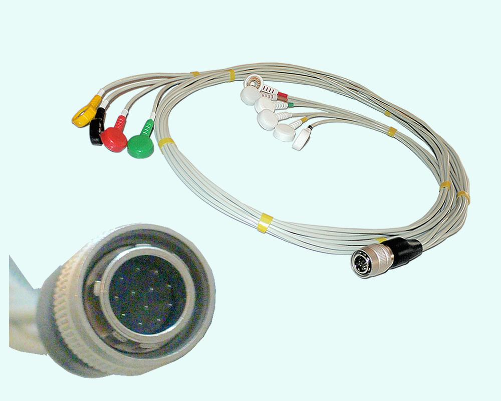 Кабель ЭКГ для КТ04-8,КТ-04АД-3М, с 3 отведениями 7 электродов, биоустойчивый, 12 pin