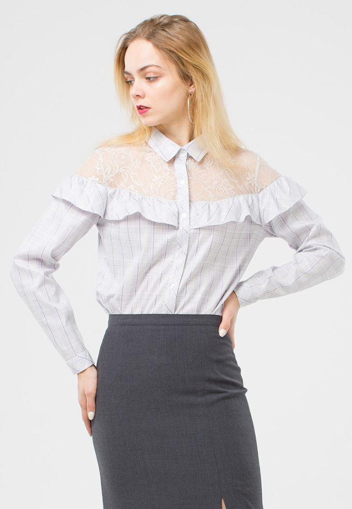 Блуза Г613-135 - Блуза классического кроя с с отложным воротником и длинными рукавами. Отрезная кокетка и плечи из кружева в тон и рюша из основной ткани, сделают ваш образ романтичным и притягательным.