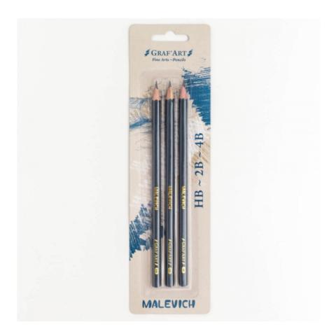 Набор чернографитных карандашей Малевичъ Graf'Art 3 шт (HB, 2B, 4B)