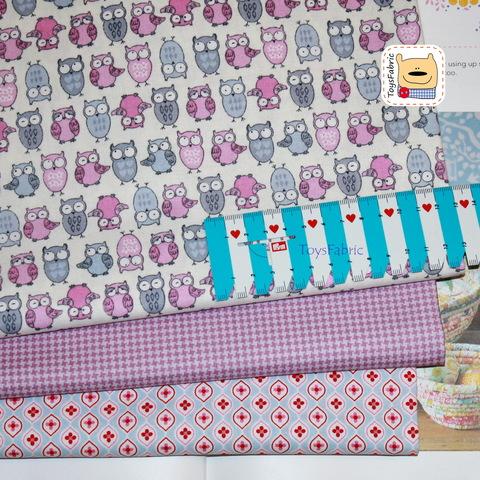 Набор тканей для пэчворка 51804 Сиреневые совы (45х35см/3шт.)