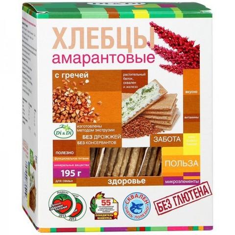 Хлебцы амарантовые с гречей, 195 гр. (Ди энд Ди)
