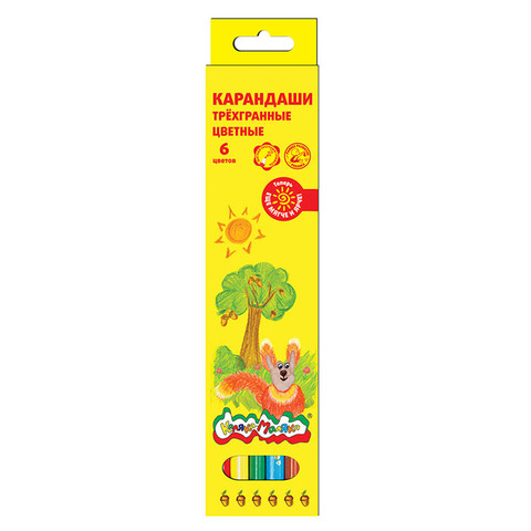 Карандаши цветные трехгранные Каляка-Маляка 6 цветов/КТКМ06