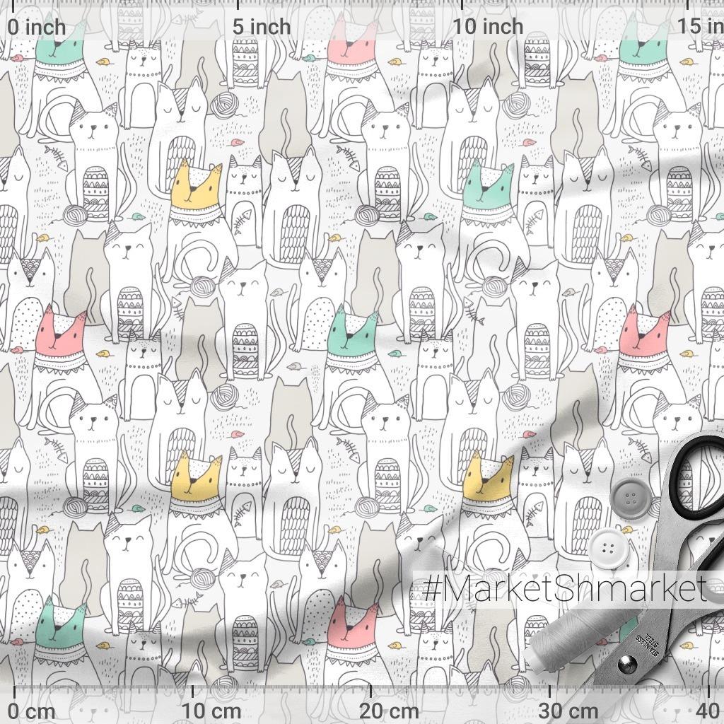 Дудло коты и котики. Милые животные. Doodle cats design.