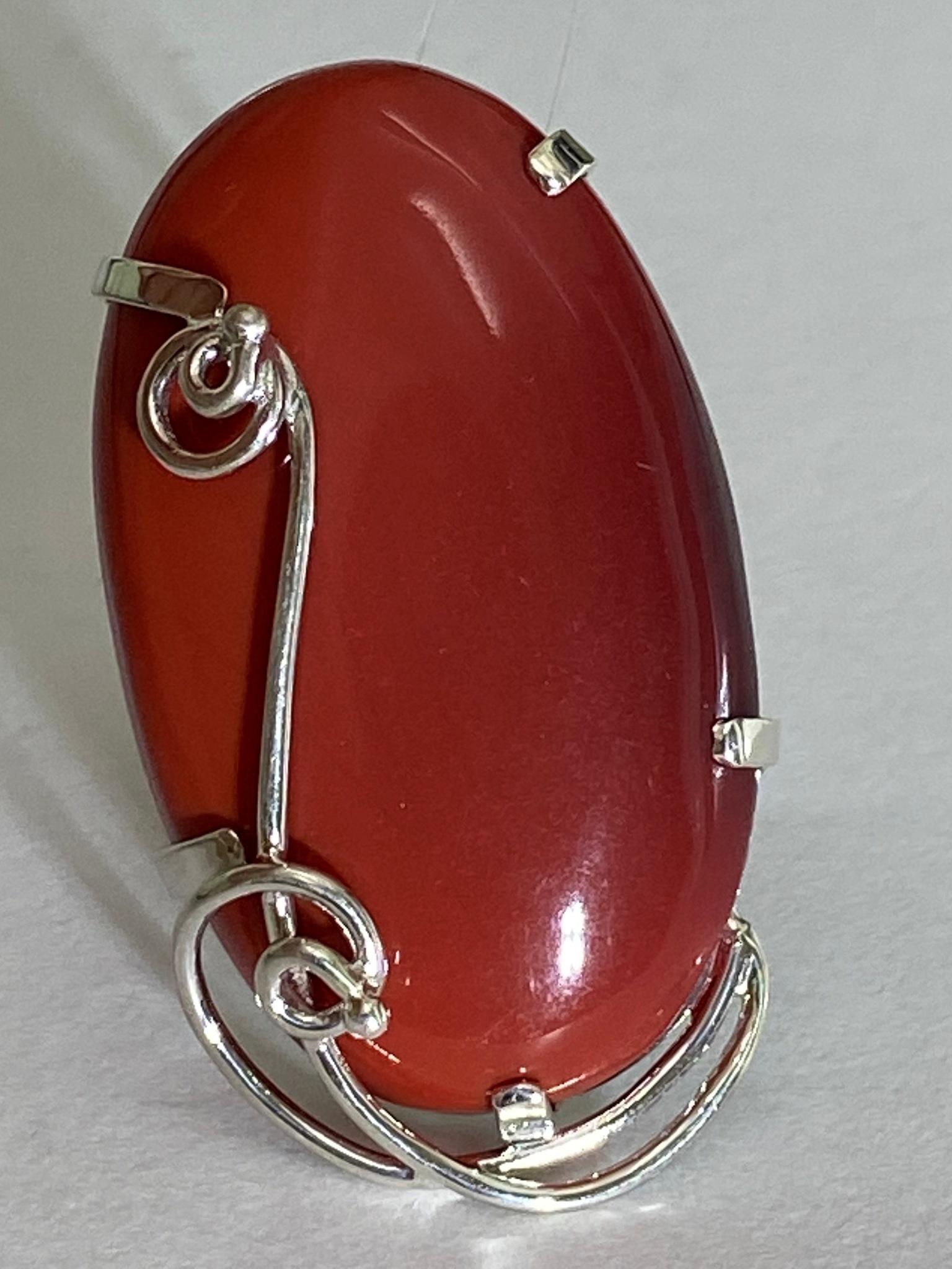 Яшма алая (кольцо из серебра)