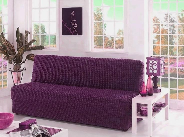 Чехол на диван без подлокотников, фиолетовый