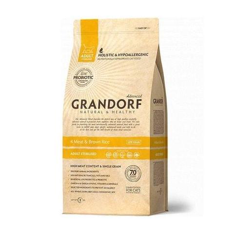 2 кг. GRANDORF Сухой низкозерновой корм для стерилизованных кошек с пробиотиками