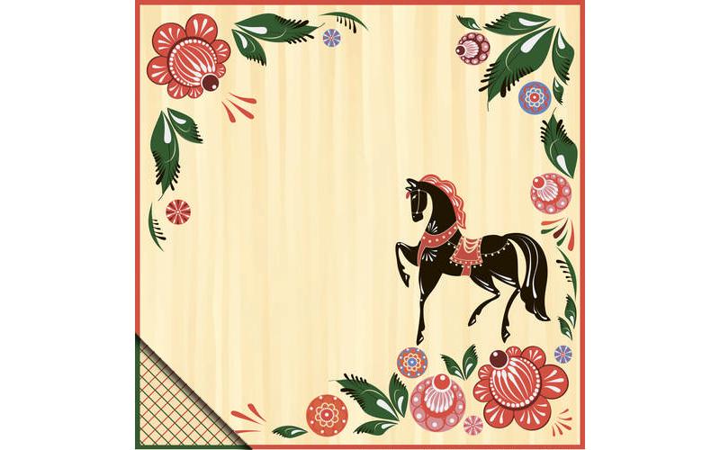 Бумага для скрапбукинга Конь