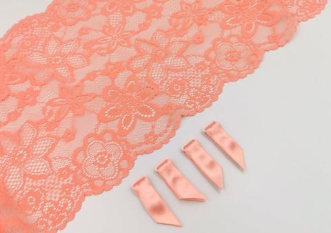 Чулкодержатель (с атласной лентой), флорида (розово-коралловые), 10мм, (Арт: CHL-1045), 4 ШТ