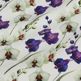 Плотное льняное набивное полотно в зелёные и фиолетовые орхидеи