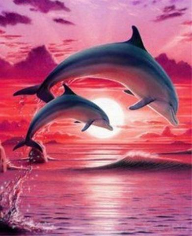 Алмазная Мозаика 30x40 Дельфины на фоне розового заката (Арт. MHZS260 )