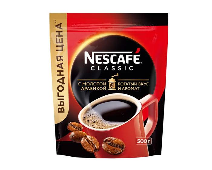 купить Кофе растворимый Nescafe Classic с добавлением молотой арабики, 500 г