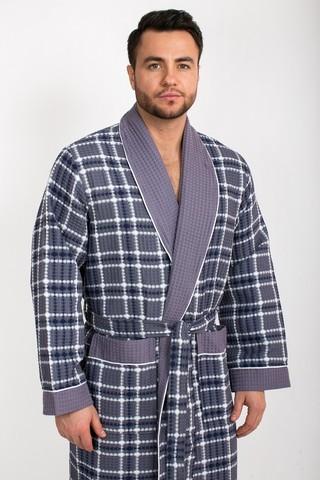 Вафельный  мужской халат Gentelmen Style серый