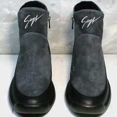 Зимние сникерсы женские на танкетке Jina 7195 Leather Black-Gray
