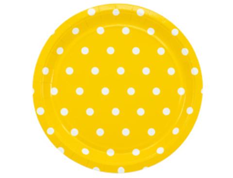 Тарелка Горошек желтая 23см 6шт/G