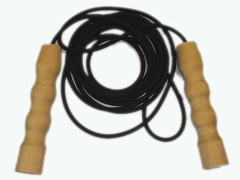Скакалка резиновая черная 2.8 м с деревянными ручками :(00007304):