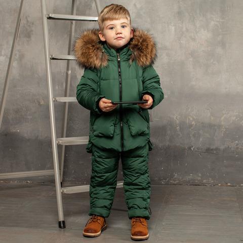 Дитячий зимовий костюм зеленого кольору з водовідштовхувальним плащової тканини