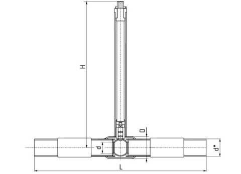 LD КШ.Ц.ПЭ.GAS.250.016.П/П.02.Н=1500мм с патрубками ПЭ-100 SDR 11 полный проход редуктор