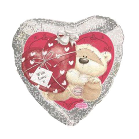 Мишка с сердечком Серебро