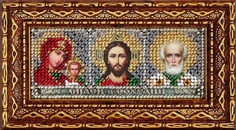 Тема: Религия, иконы, святые¶Техника: Вышивание бисером¶Размер: 4,6х11 см (в рамке 8,6х15 см)¶Основа