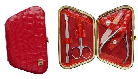 Маникюрный набор СТАЛЕКС НМ-04/4 «Рамка», 4 предмета. Натуральная кожа, ручная заточка. Цвет № 113