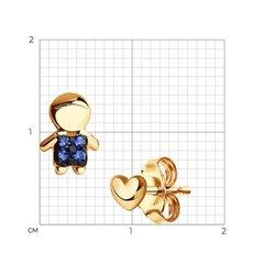 027239- Пусеты мальчики из золота с фианитами
