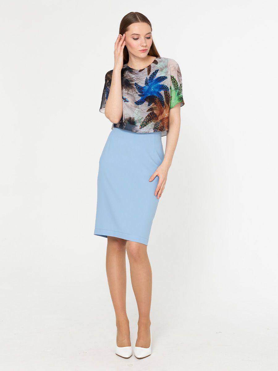Юбка Б027а-362 - Прямая классическая юбка прекрасно сочетается с любым верхом, подойдет как для офиса так и для повседневной жизни.