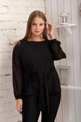 Іветта. Блуза Pluse Size з прозорим рукавом. Чорний