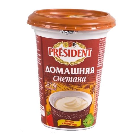 Сметана PRESIDENT Домашняя 25% 385 гр пл/ст КАЗАХСТАН