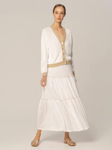Женская юбка белого цвета из вискозы - фото 2