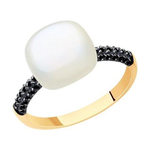 716563 - Кольцо из золота с лунным камнем и фианитами