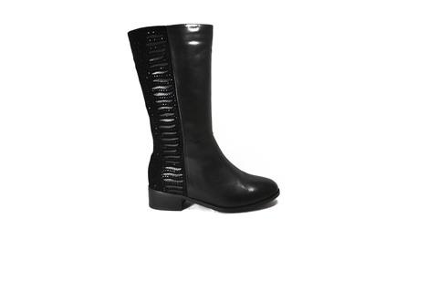 Черные кожаные полусапоги с замшевой вставкой на широком каблуке