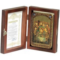 Инкрустированная Икона Святые царственные страстотерпцы 15х10см на натуральном дереве, в подарочной коробке