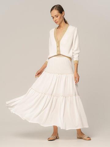 Женская юбка белого цвета из вискозы - фото 4