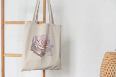 Сумка-шоппер с принтом Цветы (Розы) бежевая 001